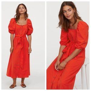 H&M Midi Puff Sleeve Belted Dress